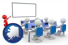 ak map icon and a computer training classroom