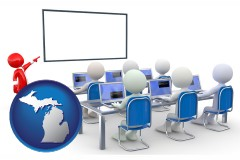 mi map icon and a computer training classroom