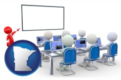mn map icon and a computer training classroom