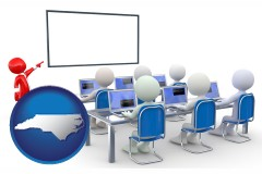 nc map icon and a computer training classroom