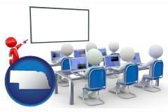 ne map icon and a computer training classroom