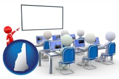 nh map icon and a computer training classroom