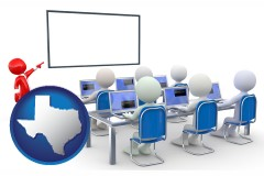 tx map icon and a computer training classroom