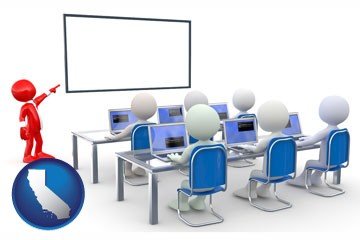 a computer training classroom - with California icon