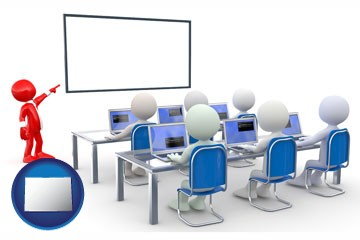a computer training classroom - with Colorado icon