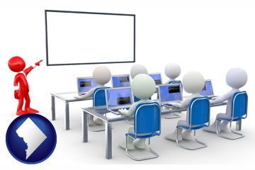 a computer training classroom - with Washington, DC icon