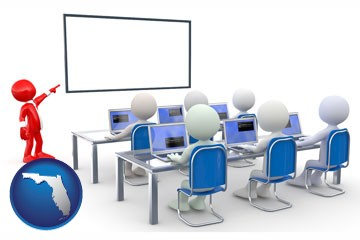 a computer training classroom - with Florida icon