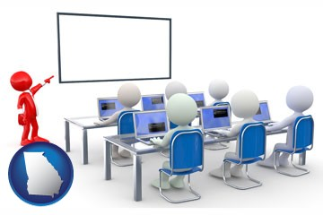 a computer training classroom - with Georgia icon
