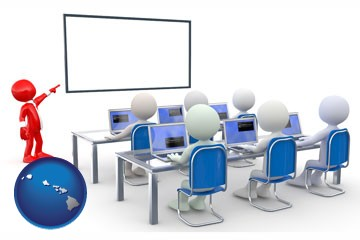 a computer training classroom - with Hawaii icon