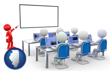 a computer training classroom - with Illinois icon