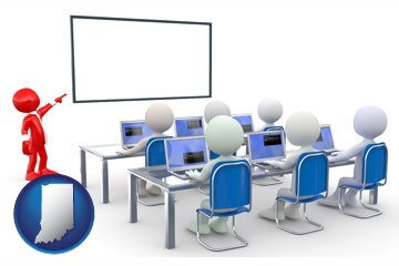 a computer training classroom - with Indiana icon