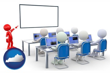 a computer training classroom - with Kentucky icon
