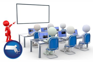 a computer training classroom - with Massachusetts icon