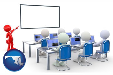 a computer training classroom - with Maryland icon