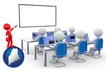 a computer training classroom - with Maine icon