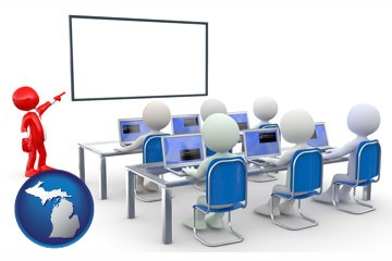 a computer training classroom - with Michigan icon