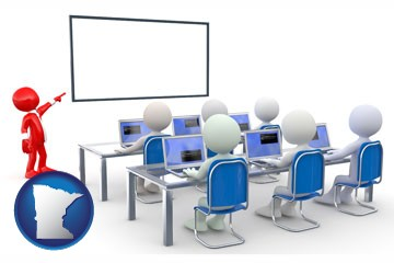 a computer training classroom - with Minnesota icon