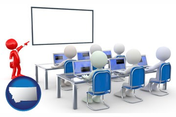 a computer training classroom - with Montana icon