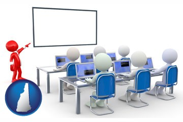 a computer training classroom - with New Hampshire icon