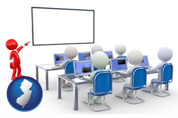 a computer training classroom - with New Jersey icon