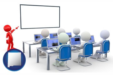 a computer training classroom - with New Mexico icon