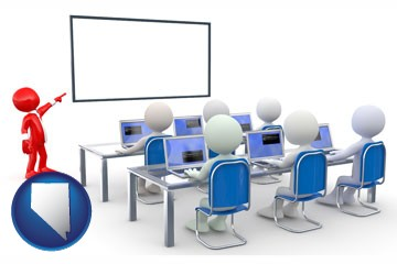 a computer training classroom - with Nevada icon