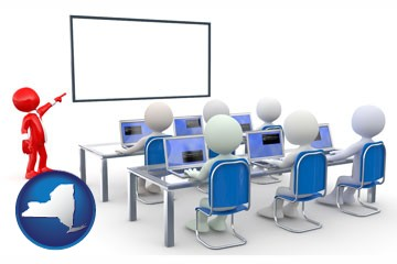 a computer training classroom - with New York icon