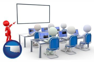 a computer training classroom - with Oklahoma icon