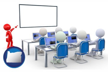 a computer training classroom - with Oregon icon