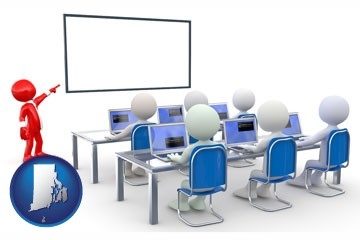 a computer training classroom - with Rhode Island icon