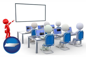 a computer training classroom - with Tennessee icon