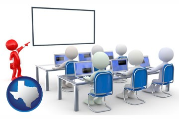 a computer training classroom - with Texas icon