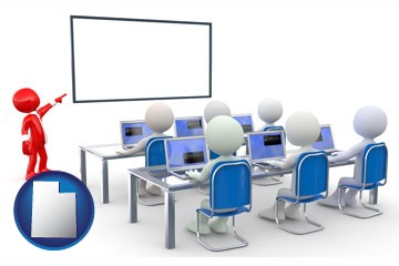 a computer training classroom - with Utah icon