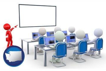 a computer training classroom - with Washington icon