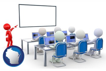 a computer training classroom - with Wisconsin icon