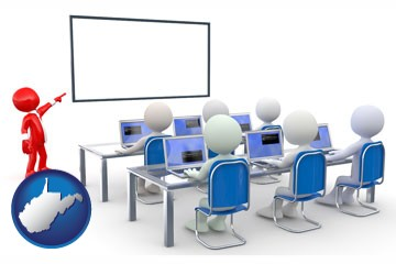 a computer training classroom - with West Virginia icon