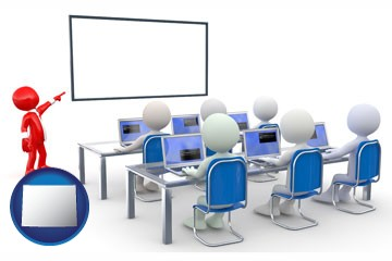a computer training classroom - with Wyoming icon